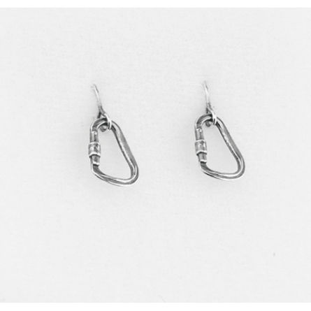Silver Earrings: Carabiner antiqued silver - Rock empire - Picture